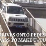 高速道路インターを過ぎたジムニーが歩道橋を走破しUターン 中国・新疆ウイグル自治区