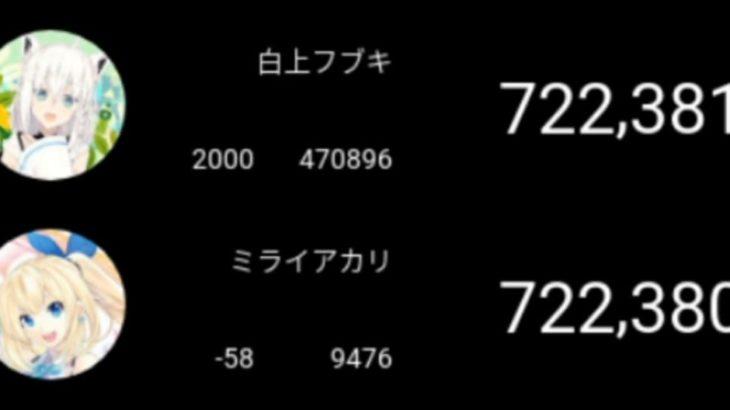"""白上フブキ かつての """"四天王"""" ミライアカリのチャンネル登録者数を上回る"""