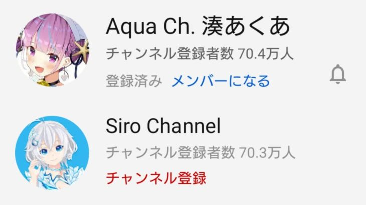 湊あくあ 電脳少女シロのYouTubeチャンネル登録者数を上回る