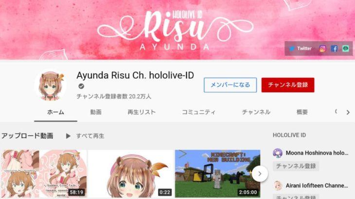 Ayunda Risu (アユンダ・リス) YouTube公式チャンネル (2020年11月7日現在)