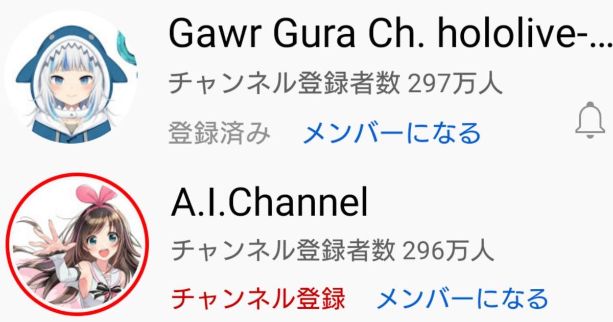 サメちゃんこと VTuber がうる・ぐら (Gawr Gura) キズナアイのチャンネル登録者数を上回る VTuber史上初